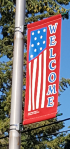 Red, White, and Blue Welcome Flag