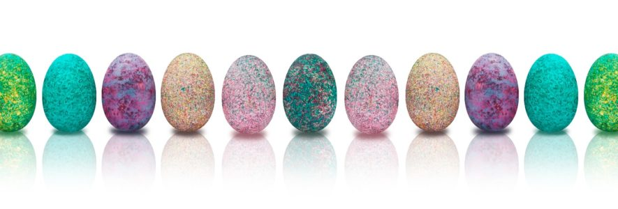 Row of decorated eggs